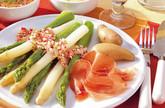 Spargel  mit Mangodip und Radieschenvinaigrette