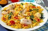 Tabouleh  mit Fischfilet und Mandeln