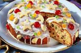 Früchtekuchen  mit Marzipan